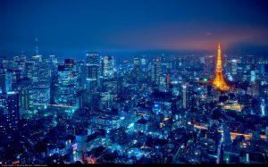 tokyo lights tower night